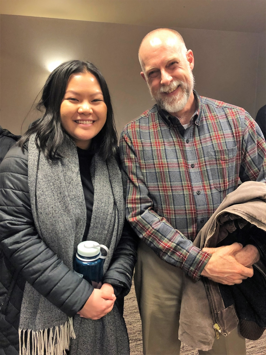 Capitol Pathways intern Amy Zhou, University of Minnesota student interning at the Minnesota Housing Finance Agency, left, with Doug Mead, Capitol Pathways supporter, right.